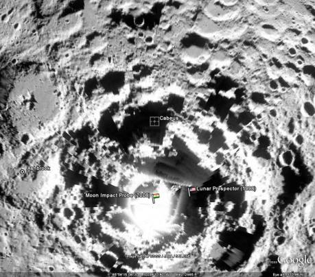 Google Moon image of Cabeus and the South Pole
